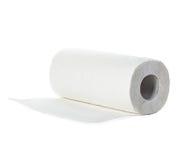 Rulle av pappers- handdukar som isoleras på vit Arkivfoton
