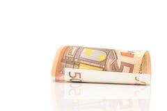 Rulle av 50 pappers- räkningar för euro Royaltyfri Bild
