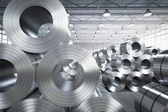 Rulle av stålarket i fabrik Royaltyfria Foton