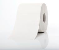 Rulle av toaletten som är pappers- med reflexion Fotografering för Bildbyråer