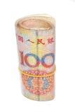 Rulle av 100 Yuan räkningar Royaltyfri Bild