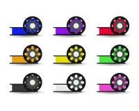 Rulle för färg för vektoruppsättninglägenhet för 3D skrivaren, plast- för skrivaren 3D Royaltyfri Fotografi