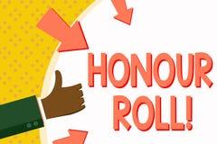 Rulle för heder för ordhandstiltext Affärsidéen för lista av studenter, som har tjänat, kvaliteter ovanför en närmare detalj i ge royaltyfri illustrationer