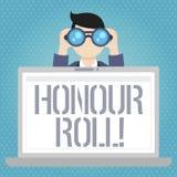 Rulle för heder för ordhandstiltext Affärsidéen för lista av studenter, som har tjänat, kvaliteter ovanför en närmare detalj i ge stock illustrationer