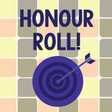 Rulle för heder för textteckenvisning Den begreppsmässiga fotolistan av studenter, som har tjänat, kvaliteter ovanför en närmare  royaltyfri illustrationer