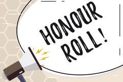 Rulle för heder för textteckenvisning Den begreppsmässiga fotolistan av studenter, som har tjänat, kvaliteter ovanför en närmare  vektor illustrationer