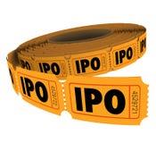 Rulle för biljett för IPO Märka med sina initialer Allmänhet Offering Företag affärstombola Royaltyfria Bilder