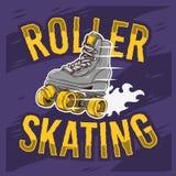 Rulle som åker skridskor design med en klassisk modell Roller Skate stock illustrationer