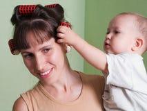 Rulli dei capelli Immagini Stock Libere da Diritti