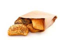 Rulli di pane di lusso in sacco di carta Fotografia Stock Libera da Diritti