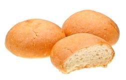 Rulli di pane isolati su bianco Fotografie Stock
