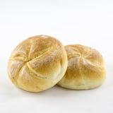 Rulli di pane isolati su bianco Immagini Stock Libere da Diritti