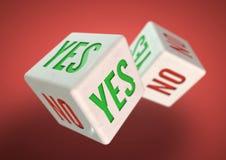 Rullning för två tärning Ja inte på framsidor av tärning Begrepp för framställning av ett beslut Arkivfoto
