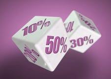 Rullning för två tärning Procentsatsbesparingar på varje framsida Rabatt avtal, svarta fredag, försäljning, speciala priser! Stock Illustrationer