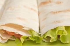 Rullo con i salmoni e l'insalata Fotografia Stock Libera da Diritti