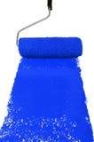 Rullo con vernice blu fotografia stock