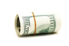 Rullo del dollaro isolato Fotografie Stock