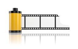 Rullo di pellicola isolato su bianco con la riflessione Immagini Stock Libere da Diritti