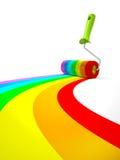 Rullo di pittura dell'arcobaleno isolato su fondo bianco Immagine Stock Libera da Diritti