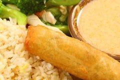 Rullo di sorgente sull'alimento tailandese del pollo del pisello di neve Fotografia Stock Libera da Diritti