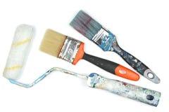 Rullo e spazzole di pittura utilizzati Immagini Stock Libere da Diritti