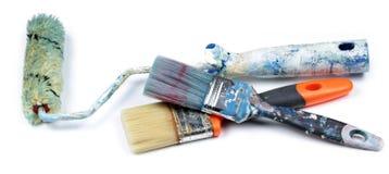 Rullo e spazzole di pittura utilizzati, Fotografia Stock Libera da Diritti