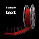 Rullo e tappeto rosso di pellicola del cinematografo Fotografie Stock Libere da Diritti