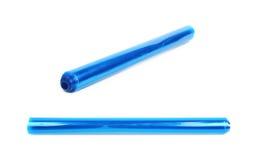 Rullrör av genomskinlig blå plast- Arkivfoto