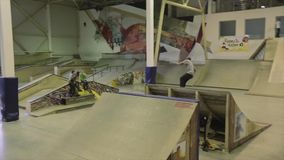 Rullskateboradåkaren hoppar handlagfoten i luft, dubblettflip språngbräda extremt Konkurrens i skatepark arkivfilmer