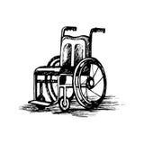 Rullstolen som isoleras på vit bakgrund, skissar illustrationen Vektor Illustrationer