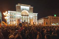 Rumänesammlung im größten Korruptionsbekämpfungs- Protest Lizenzfreie Stockfotos