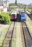Rumänezüge in der Station Lizenzfreies Stockbild