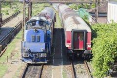 Rumänezüge in der Station Stockfotografie