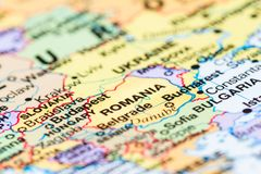 Rumänien auf einer Karte stockfoto