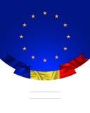 Rumänien band med den rumänska flaggan och den europeiska fackliga flaggan Arkivbilder