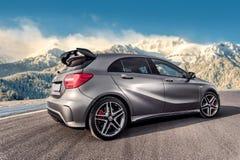 Rumänien, Brasov-Sept. 16, 2014: Mercedes-Benz A 45 2014 AMG Lizenzfreie Stockfotos