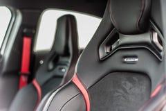 Rumänien, Brasov-Sept. 16, 2014: Mercedes-Benz A 45 2014 AMG-Innenraum Lizenzfreie Stockfotos