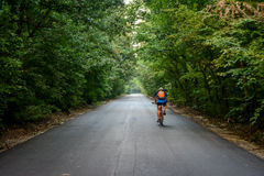 In Rumänien, durch die Wälder radfahren Stockbild