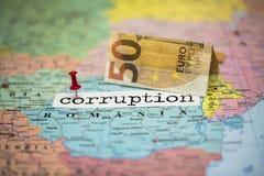 Rumänien ett land var korruption är i överkanten Arkivfoto