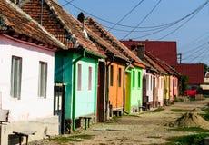 Rumänien färgade hus Arkivbilder