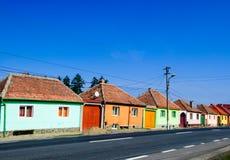 Rumänien färgade husgatan Arkivbilder