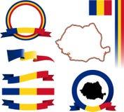 Rumänien-Fahnen-Satz Stockbild
