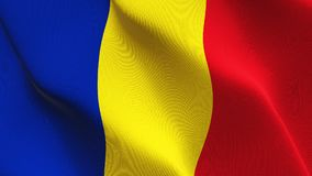 Rumänien fahnenschwenkend auf Wind stockfotografie