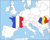 Rumänien och Frankrike i Europa, i färgerna av nationsflaggorna royaltyfri illustrationer