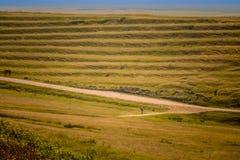 In Rumänien, in Richtung zu Donau-Ufer, durch Hügel, Wiesen und Getreidefelder radfahren stockfotografie