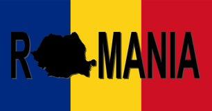 Rumänien-Text mit Karte Stockbilder