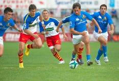 Rumänien-und Italien-Kampf während des IRB Nation-Cup Stockfoto