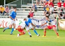 Rumänien-und Italien-Kampf während des IRB Nation-Cup Lizenzfreies Stockbild
