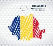Rumänien-Vektorkarte mit dem Flaggeninnere lokalisiert auf einem weißen Hintergrund Gezeichnete Illustration der Skizzenkreide Ha Lizenzfreie Stockfotos