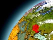 Rumänien von der Bahn von vorbildlichem Earth Lizenzfreies Stockbild